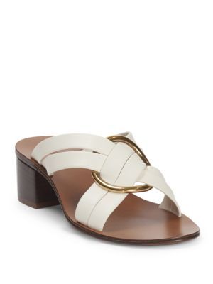 Rony Strappy Sandal With Gold Ring, Cloudy White