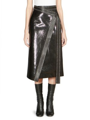 Python-Embossed Lamb-Leather Midi Wrap Skirt W/ Studs, Black Silver