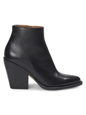 Women'S Rylee Pointed Toe Leather Block Heel Booties, Black