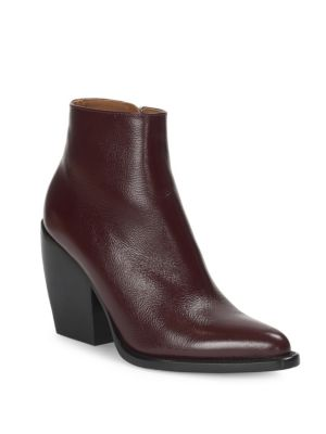 Rylee Low Leather Ankle Boots, Deep Purple