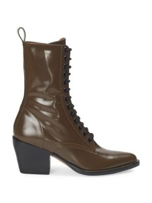 Rylee Lace Up Leather Mid Calf Boots by Chloé