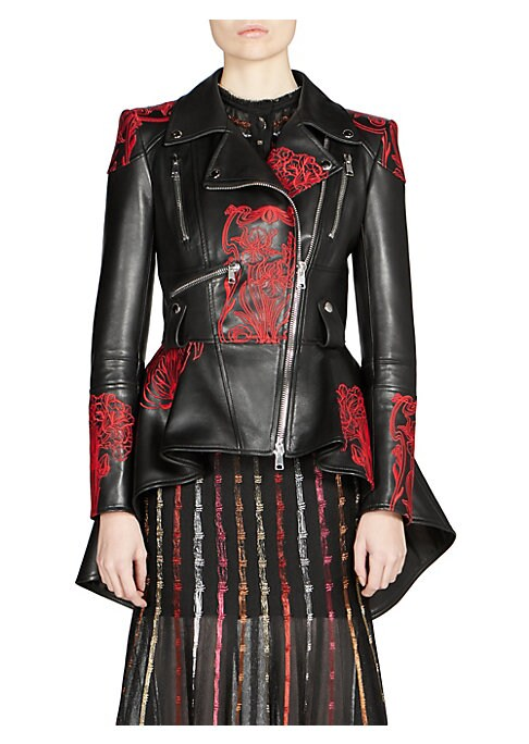 Image of Added touches of feminine flair create a modern update on the classic biker jacket. Crafted in Italian leather, the floral embroidery and waist-defining hi-lo peplum hem inspire fresh movement in the piece. Notched lapels. Long sleeves. Asymmetric front z