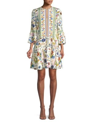 Daphne Bell Sleeve Silk Dress by Tory Burch