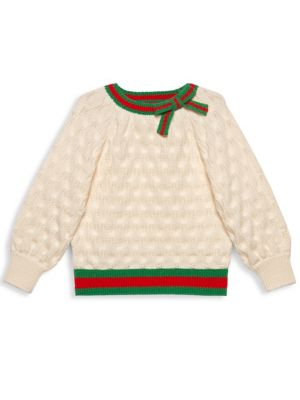 Little Girl's & Girl's Wool Knit Crewneck Sweater by Gucci