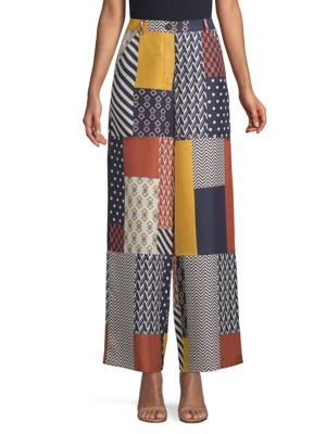 Denise Patchwork Printed Silk-Twill Wide-Leg Pants, Geometric