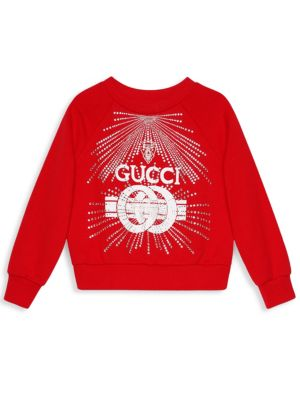 Gucci Little Girl S Girl S Embellished Logo Sweater