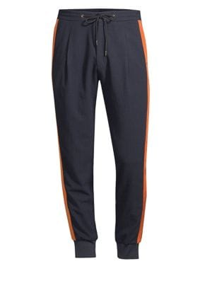 PAUL SMITH Side-Stripe Tapered-Leg Cotton Track Pants in Black