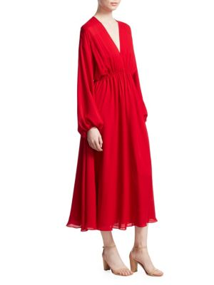 Norma Long Sleeve V-Neck Dress, Bright Red