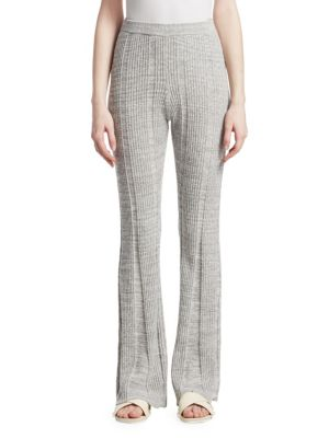Joan Ribbed Cotton-Blend Flared Pants, Flannel