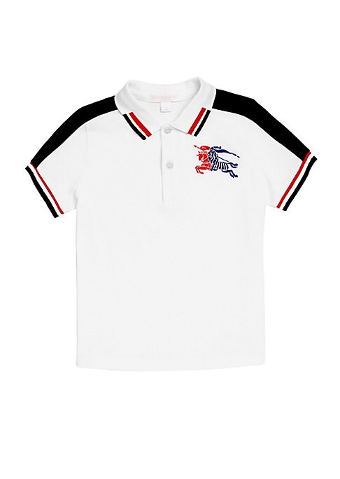 Image of Casual cotton polo with embroidered logo and contrasting panels. Ribbed polo collar. Short sleeves. Ribbed armbands. Three-button placket. Cotton. Dry clean. Imported.
