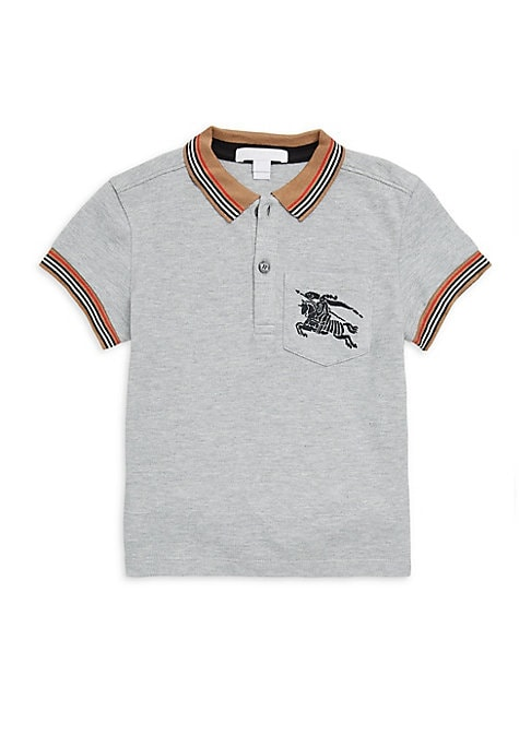 Image of Preppy polo shirt with striped detailing and embroidered knight emblem. Polo collar. Two-button placket. Short sleeves with ribbed cuffs. Chest patch pocket. Cotton. Machine wash. Imported.