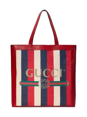 Leather-Trimmed Striped Canvas Tote, Hibiscus Red/ White/ Blue