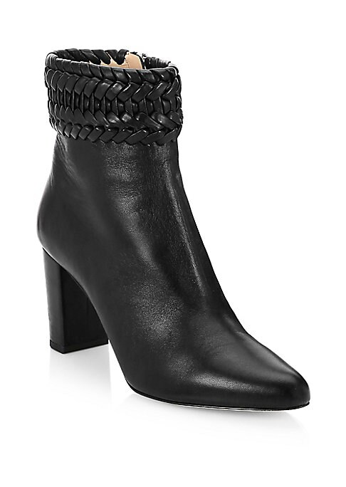 """Image of Braided opening offers boho accents to sleek leather boots. Self-covered stacked heel, 2.76"""" (70mm).Leather upper. Point toe. Side zip closure. Leather lining and sole. Made in Italy."""