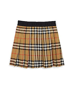 Image of Classic plaid adorns sweet skirt for your little fashionista. Banded waist Pleated skirt Cotton Machine wash Imported. Children's Wear - Burberry Kids. Burberry. Color: Antique Yellow. Size: 6.