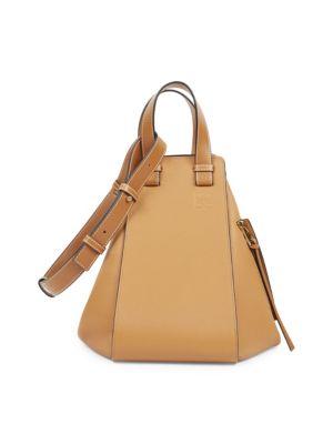 Medium Hammock Calfskin Leather Shoulder Bag - Beige, Light Caramel