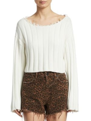 Raw-Edge Cropped Pullover Sweater, Ivory