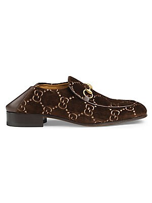 96864082503 Gucci - Leather Loafer With GG Web - saks.com