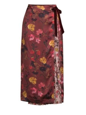 MOTHER OF PEARL Mittie Printed Satin And Pleated Georgette Wrap Skirt in Burgundy