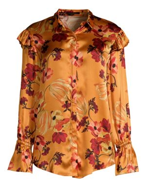 Marin Silk Floral Blouse in Multicolour