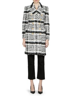 Black And White Wool And Cotton Coat, Black White