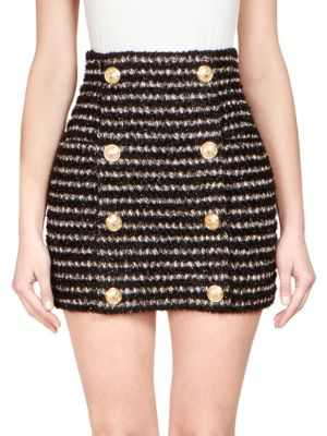 Striped Tweed Mini Skirt With Buttons, Black White
