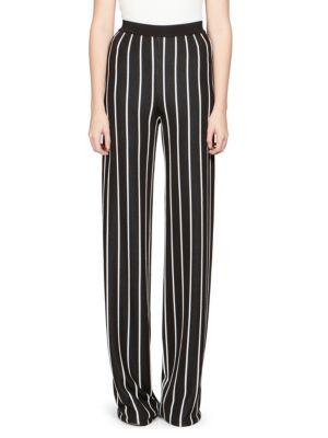 BALMAIN Striped Woven Wide-Leg Pants in Black