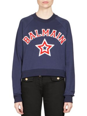 Cropped Appliquéd Cotton-Jersey Sweatshirt in Blue