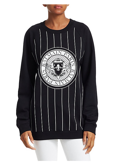 Image of A testament to the luxury sportswear trend, this logo baseball coin crewneck is finished with athletic pinstripes and ideal for a chic off-duty look. Crewneck. Long sleeves. Pullover style. Banded trim. Cotton/elastane. Hand wash. Made in Portugal. SIZE &