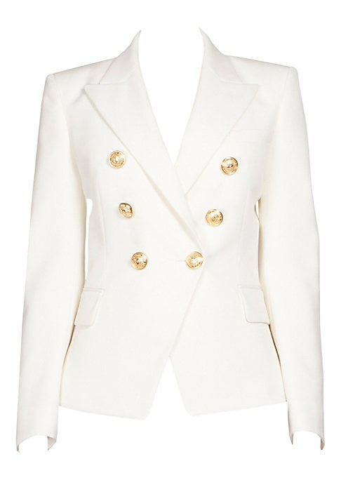 Image of A staple silhouette of the label, this strong-shouldered wool blazer gives off a powerful air. Details like goldtone buttons and wide peak lapels up the design factor. Wide peak lapels. Long sleeves. Buttoned cuffs. Button front. Front flap pockets. Wool.