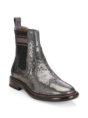 Broken Glass Leather Chelsea Boots, Graphite