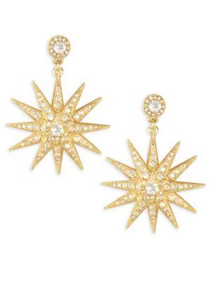 Moon Swarovski Crystal Drop Earrings, Yellow Gold