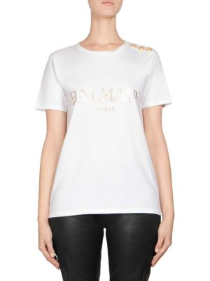 Metallic Logo Tee by Balmain