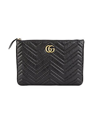 80bae9267912 Gucci - GG Marmont 2.0 Leather Zip Clutch - saks.com