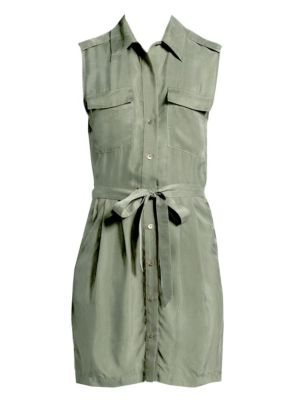 Evelyn Washed Twill Shirtdress, Beetle