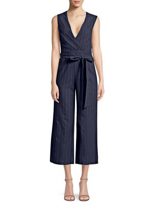 Joslyn Pinstriped Linen And Cotton-Blend Canvas Jumpsuit in Navy from L'AGENCE