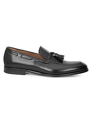 Image of Burnished leather loafer with classic tassel trim Leather upper, lining & sole Round toe Slip-on style Padded insole Made in Italy. Men's Shoes - Mens Classic Footwear > Saks Fifth Avenue. Bruno Magli. Color: Black. Size: 9.