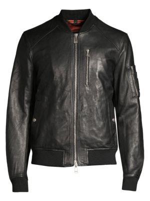 Clenshaw Leather Bomber Jacket, Black
