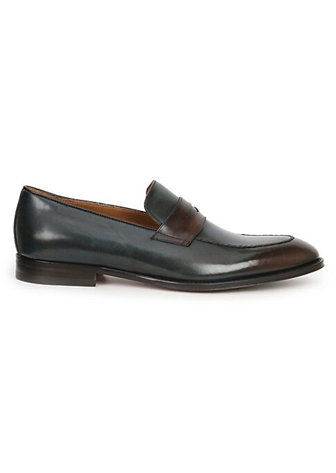 Image of Leather loafers with a contrast band. Leather upper. Almond toe. Slip-on style. Leather lining. Leather and rubber sole. Made in Italy.