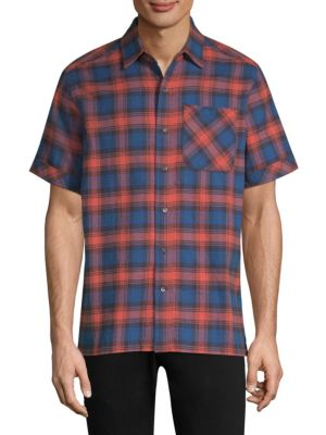 Plaid Cotton Flannel Shirt - Blue Size M