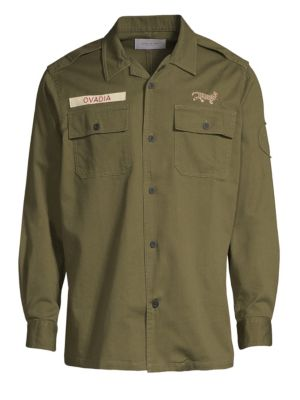 OVADIA & SONS Men'S Logo Patch Military Shirt in Army
