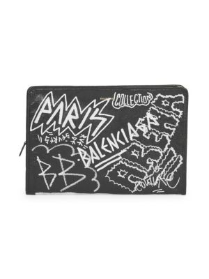 Graffiti Embellished Lambskin Pouch - Black, Black White