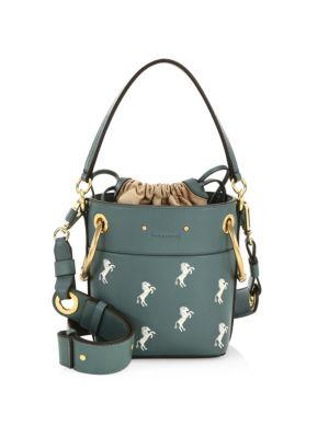 Chloe Mini Roy Horse Embroidered Bucket Bag In Blue, Black