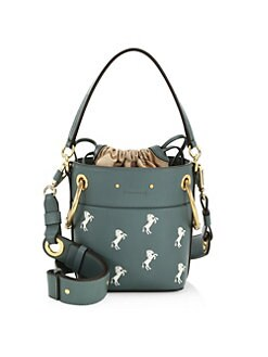 165085491450 Chloé - Small Little Horses Embroidered Leather Bucket Bag