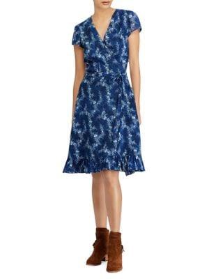 Polo Ralph Lauren Cottons Hanah Floral Wrap Dress