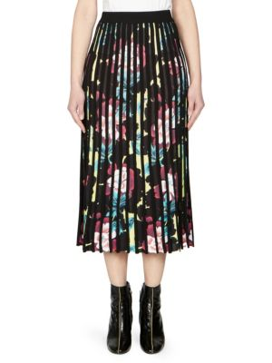 Floral-Print Knitted Midi Skirt in Black