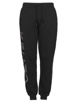 Drawstring Jogger Pants With Logo in Black