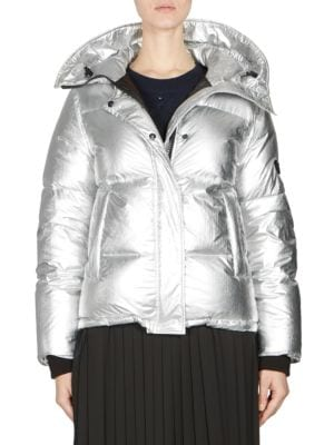 KENZO Silver Waterproof Fabric Down Jacket in Metallic