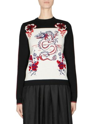 Printed Knit Pullover With Wool And Cotton, Black