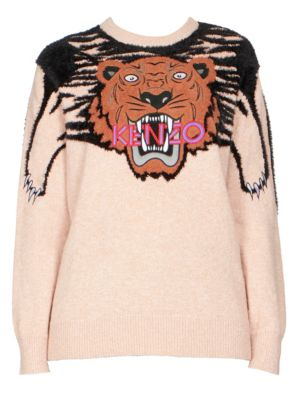KENZO Claw Tiger Logo Crewneck Sweater in Pink