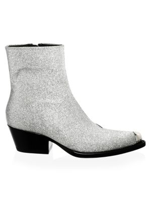 Terrane Diamond Glitter Leather Booties, Silver